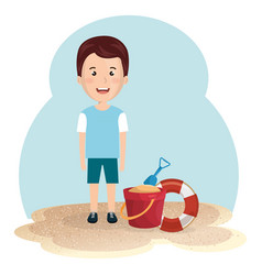 little boy in the beach summer vacations elements vector image