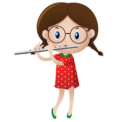 Little girl playing flute vector