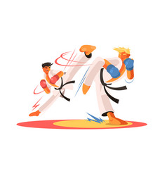 Men and karate fight vector