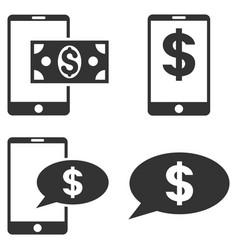 Mobile financial balance flat icon set vector