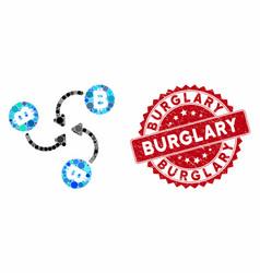 Mosaic bitcoin mixer swirl with grunge burglary vector