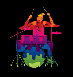 musician playing drum music band vector image