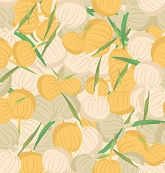 Onion pattern Seamless background with bulbs vector image