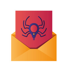 open letter with spider isolated icons vector image