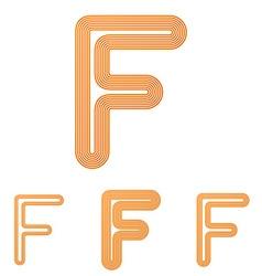 Orange line f logo design set vector
