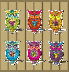 Owls sticker set of multicolored on wooden in vector