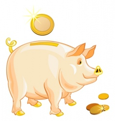 Piggy bank with gold coins vector