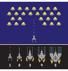 Pixel art style space war and spaceship game vector