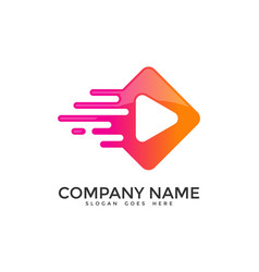 pixel video logo icon design vector image