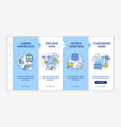 Principal greenhouse gases onboarding template vector