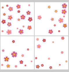 Sakura cherry flower petals flying backgrounds set vector