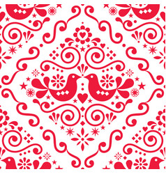 scandinavian floral seamless pattern vector image