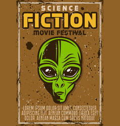 Science fiction movie fest advertising poster vector