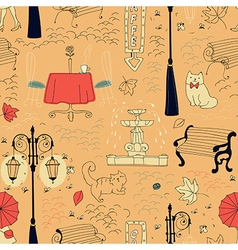 Seamless pattern in draft style vector