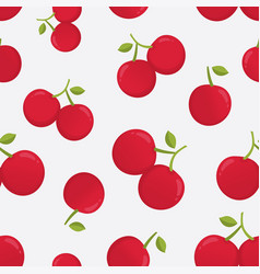 seamless pattern with cherry berries vector image