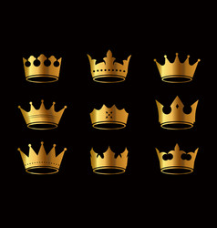 Set golden king crowns and icon on black vector