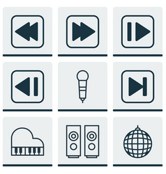 set of 9 music icons includes following song vector image
