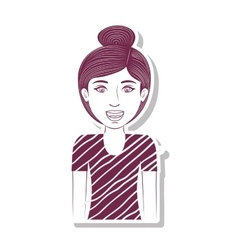 Silhouette teenager with collected hair vector