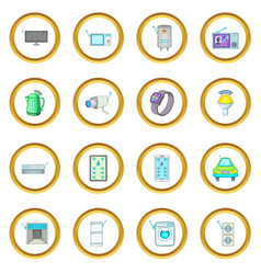 Smart home system icons circle vector