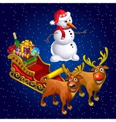 Snowman and two reindeer with sledge with gifts vector image