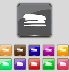 Stapler and pen icon sign Set with eleven colored vector