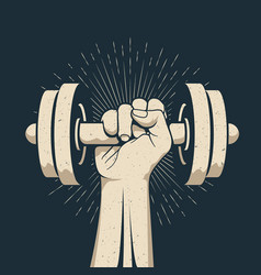 strong bodybuilder man arm holding dumbbell doing vector image