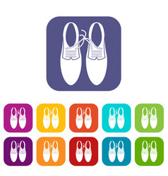 tied laces on shoes joke icons set vector image