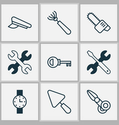 tools icons set with chainsaw watch scissors and vector image