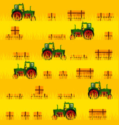 Tractor in the field seamless pattern vector