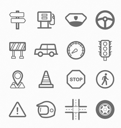 Traffic symbol line icon set vector