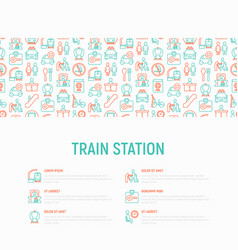 train station concept with thin line icons vector image