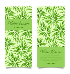 vertical green leaves banner template vector image