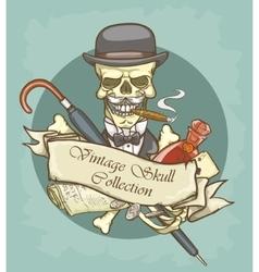 Victorian Era Skull Label vector image