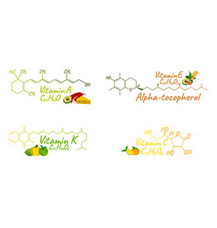Vitamin complex with food k a e c label and icon vector