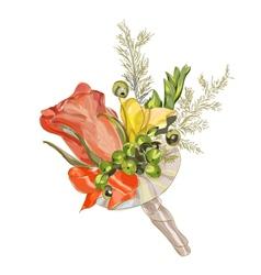 Watercolor wedding flowers vector