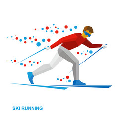 Winter sports - skiing cartoon skier running vector