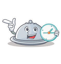 with clock tray character cartoon style vector image