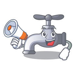 with megaphone water tap in shape of mascot vector image