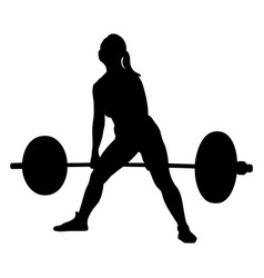 Woman athlete powerlifter exercise deadlift vector