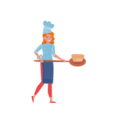 Woman cook holding wooden paddle with freshly vector