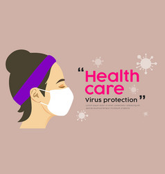 woman with mask health care virus protection desi vector image