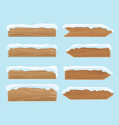Wood banners planks covered with snow festive vector