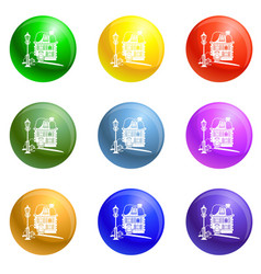 wood house icons set vector image