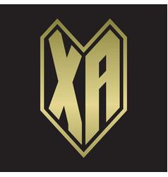 Xa logo monogram with emblem line style isolated vector