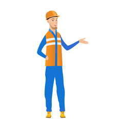 Young builder with arm out in a welcoming gesture vector