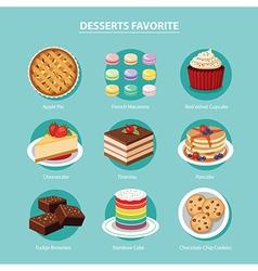 desserts favorite set flat design vector image