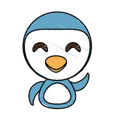 draw penguin animal comic vector image