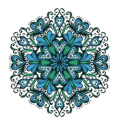 Hand drawn ornamental blue snowflake vector image vector image