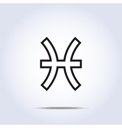 Pisces zodiac sign gray color vector image