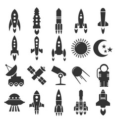 rocket spaceship astronomy icons design vector image
